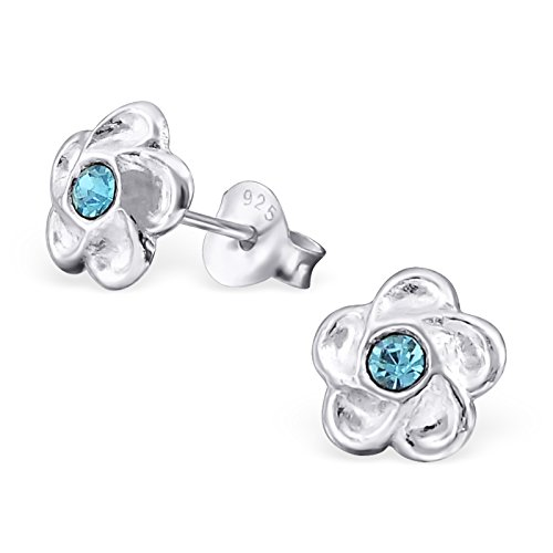 Hypoallergenic Flower Stud Earrings With Crystals for Girls (Nickel Free and Safe for Sensitive Ears) - Aqua Bohemica by Atik Jewelry (Image #1)