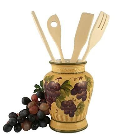 Amazon.com - KITCHEN UTENSIL HOLDER WITH TOOLS GRAPE TUSCANY DECOR ...
