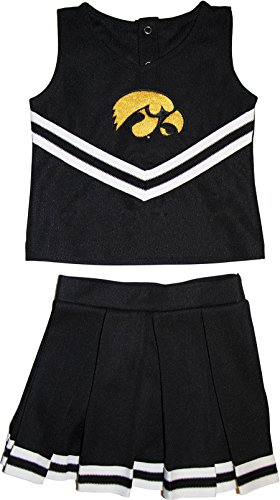 University of Iowa Hawkeyes Toddler and Youth 3-Piece Cheerleader Dress Black -