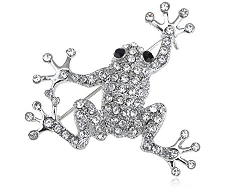 Alilang Silvery Tone Clear Crystal Colored Rhinestones Frog Toad Brooch Pin