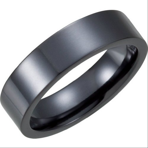 Black Titanium 6mm Flat Comfort Fit Band Size Size 6.5 by The Men's Jewelry Store (for HER)
