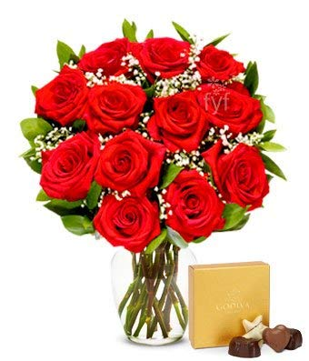 Flowers - One Dozen Red Roses with Godiva Chocolates (Free Vase Included)