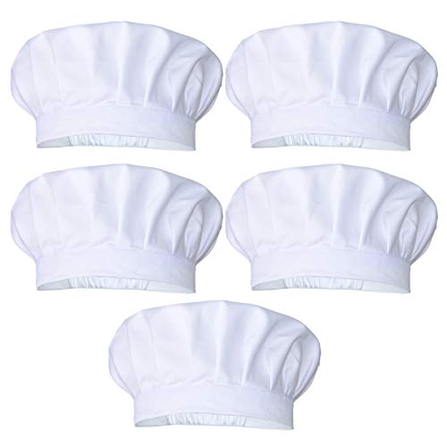JoyFamily 5 Pieces Chef Hat with Comfortable Durable Soft Materials and Adjustable Size for Adults (White)
