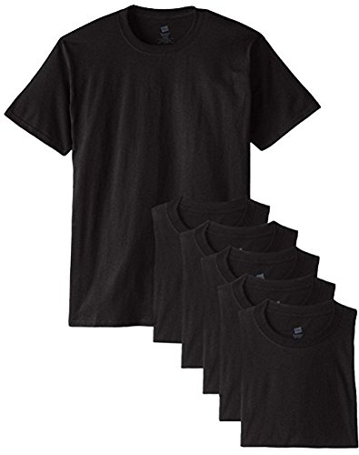 Hanes Men's Classics 6 Pack Crew Neck Tee - Black - L (Bulk Packaging)