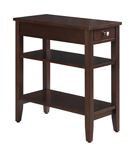 Convenience Concepts American Heritage 3-Tier End Table with Drawer, Espresso (Coffee Leather With Ottoman Table Shelf)