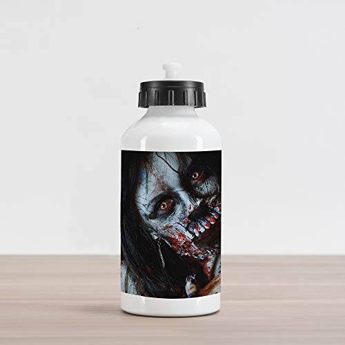Ambesonne Zombie Aluminum Water Bottle, Scary Dead Woman with a Bloody Axe Evil Fantasy Gothic Mystery Halloween Picture, Aluminum Insulated Spill-Proof Travel Sports Water Bottle, Multicolor ()