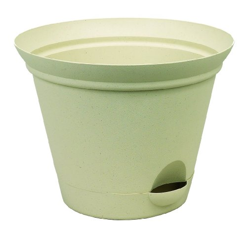 Misco Modern Round Flared Self-Watering Planter with Ventilated Base, 11-Inch Diameter, (Garden Diaper Holder)