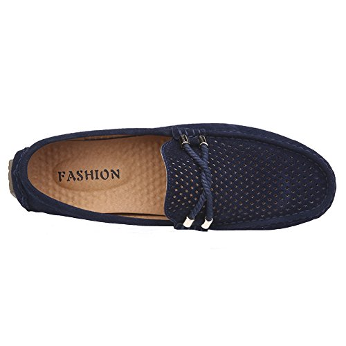 Breathable Summer Driving Moccasins Casual On Slip JIONS Loafers Boat Shoes Mens Suede Blue 80x5wA
