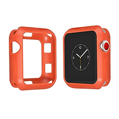 Marjorie Stevenson Silicone Bumper Case for Apple Watch,Protective Bumper Cover for Apple iWatch Series 3, Series 2, Series 1,Sports & Edition (Orange(Band+Case), 42mm M/L)
