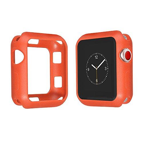 top4cus Environmental Soft Flexible TPU Anti-Scratch Lightweight Protective 42mm Iwatch Case Compatible Apple Watch Series 4 Series 3 Series 2 Series 1 Matte Style - Orange