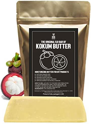 Kokum Butter – Fresh, Firm Butter, Use to Make Lotion Bars, Lip Body Butters, Balm, Soap, Sunscreens - Scent-Free (INDIA) - 16 oz by Hera Nature.