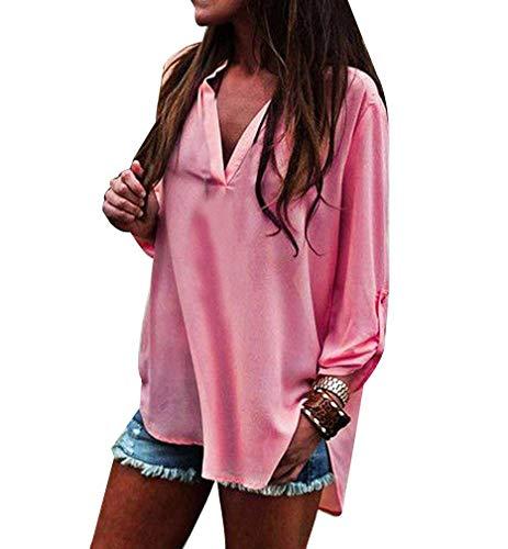 Bouffant Uni Manche Button Irrgulier Style Cou V Elgante Pink Chemisiers Tops Manches Casual Longues Mode Spcial Printemps Shirt Femme Chemisier vFx1wqapz
