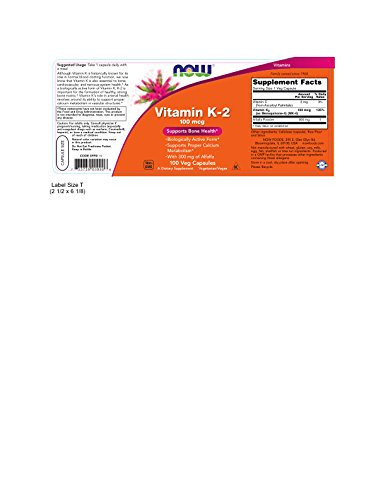 NOW Foods Vitamin K-2,100mcg, 100 caps (Pack of 2)