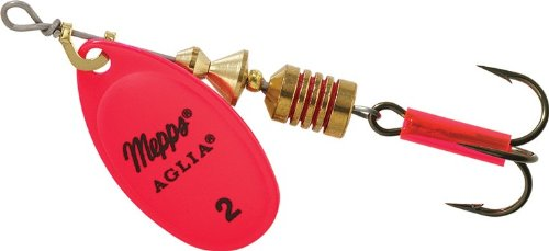 Aglia In-Line Spinner, 1/6 oz, Plain Treble Hook, Hot Pink Blade by Mepp's