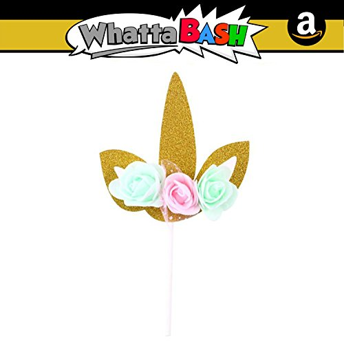 Unicorn Birthday Cake Cupcake Topper Set (Gold) Flower