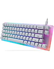 Womier K66 60% Mechanical Keyboard, Hot Swappable Tyce-C Wired RGB Backlit Gateron Switch 60% Mechanical Keyboard for PC PS4 Xbox (Yellow Switch,White)