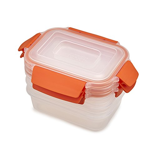 Joseph Joseph 81102 Nest Lock Plastic Food Storage Container Set with Lockable Airtight Leakproof Lids 6-Piece, 18 Ounces, Orange