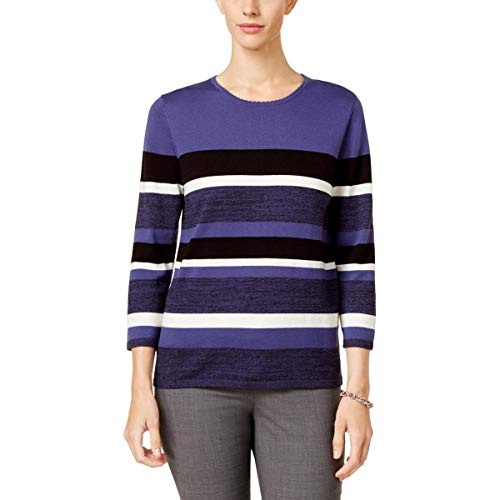 Alfred Dunner Womens Striped Long Sleeve Pullover Sweater Blue M