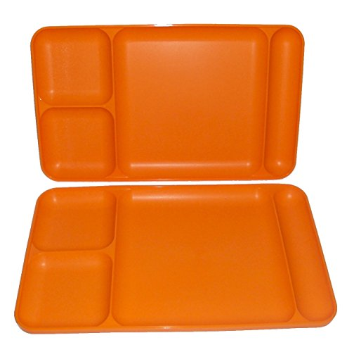 Tupperware Divided Dining TV Trays Picnic Kids Lunch Plates Orange