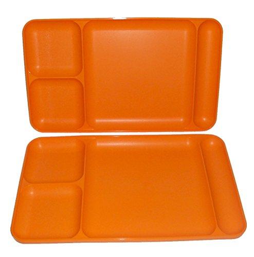 Tupperware Divided Dining TV Trays Picnic Kids Lunch Plates Orange (Tupperware Kids Trays)