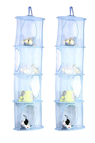 TIRSU Mesh Hanging Storage Organizer toy storage space saver bags 4 Compartments for kid room blue 2pieces lz0001-blue-4tr by TIRSU