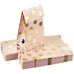 Pack of 24 Paper Treat Bags- Party Favor Bags, Fun Party Play Goodies, 2 Dozen Pink Gold Foil Polka Dots, Perfect Birthday Parties, Baby Shower, Weddings Bridal Showers, 3.7 x 6.25 x 2.6