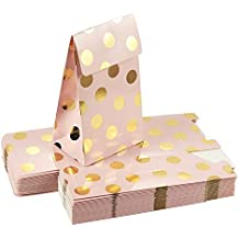 Pack of 24 Paper Treat Bags- Party Favor Bags, Fun Party Play Goodies, 2 Dozen Pink with Gold Foil Polka Dots, Perfect For Birthday Parties, Baby Shower, Weddings and Bridal Showers, 3.7 x 6.25 x 2.6