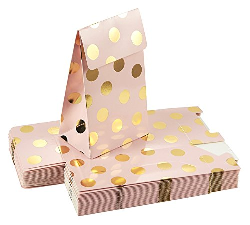 Pack of 24 Paper Treat Bags- Party Favor Bags, Fun Party Play Goodies, 2 Dozen Pink with Gold Foil Polka Dots, Perfect for Birthday Parties, Baby Shower, Weddings and Bridal Showers, 3.7 x 6.25 x 2.6 ()