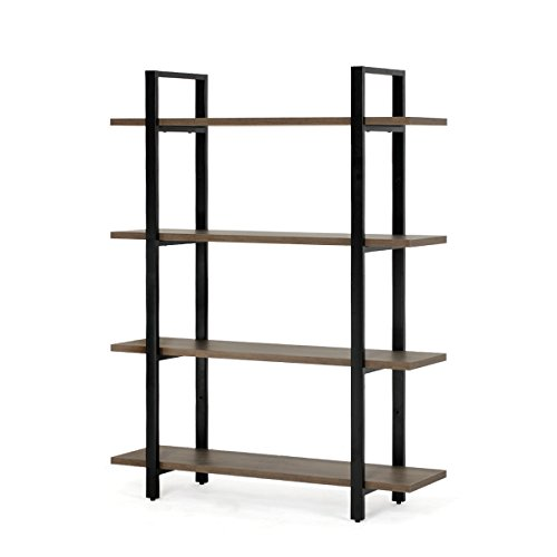 4-Tier Bookcase and Shelves in Rustic Industrial Style, Free Standing Storage Shelf Units (4-Tier) (4 Shelf Style Bookcase)
