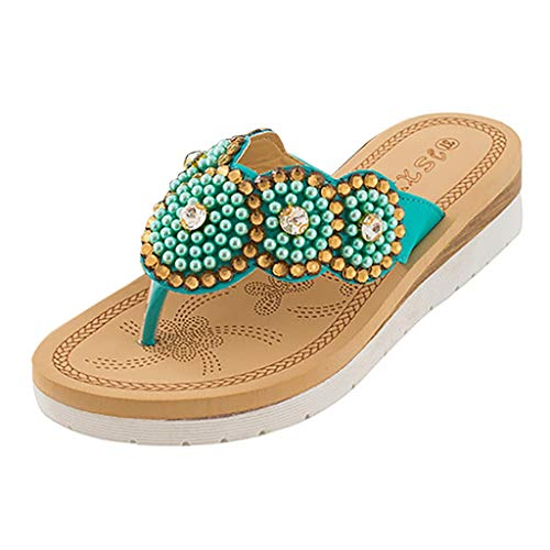 〓COOlCCI〓Women's Boho Beach Summer Flat Sandals T-Strap Beaded Dress Thong Flip Flops Comfortable Slip On Casual Shoes Green (Saddle Todd Suede)