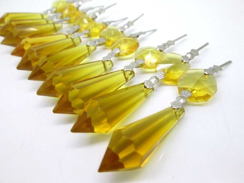 Sun Cling Chandelier Icicle Crystal, 38, (Pack of 20) - Yellow