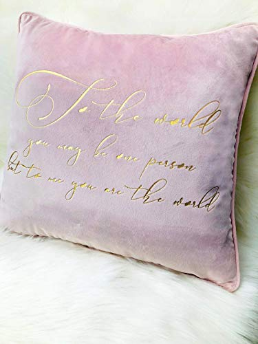 Reyna Decorative Quote Gold Foil Velvet Throw Pillow Cushion Cover 18 x 18 inch 45 x 45 cm Soft Luxury Gift Mom Birthday Wedding
