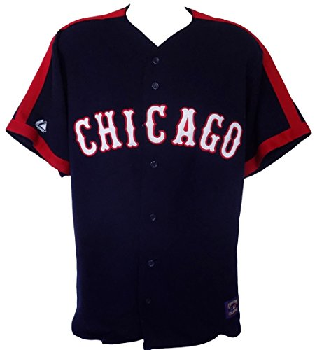 Chicago Cubs Majestic Cooperstown Collection Throwback Navy Jersey Size Large ()