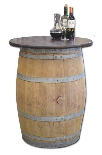 Dekofass, Stehtisch aus echtem Weinfass, Gartentisch mit Tischplatte nussbaumfarben lackiert D80 cm - Fass natur unbehandelt