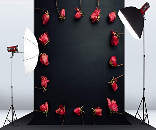 5ft x 7ft Red Roses Black Wall Microfiber Photography Background for Photo Booth Studio Wedding Party Shot Backdrop Props ()