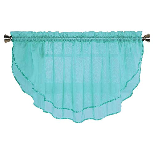 Sheer Voile Valance Curtain for Windows Size 54 in X 24 in Scalloped with Ribbon for Kitchens, Living Room, Dining Room, Bathroom, Bay Windows, Basement, Laundry Room (Turquoise) (Valances Windows For Turquoise)
