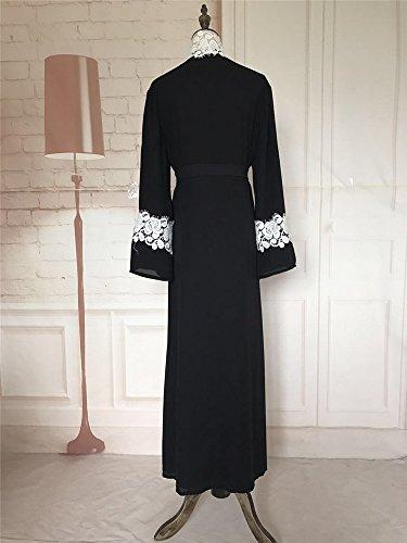 YI HENG MEI Women's Elegant Long Sleeve Muslim Maxi with White Lace Hem for Islamic Abaya,Black,L by YI HENG MEI (Image #6)