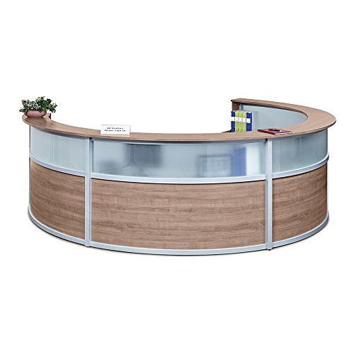 Quad Curved Reception Desk with Glass Panel - 142''W x 106''D Stone Walnut Laminate/Silver Trim Dimensions: 140''W x 106''D x 42''H Weight: 659 lbs.Line Drawing by NBF Signature Series