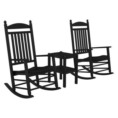 Polywood Jefferson Rocking Chair - POLYWOOD PWS111-1-BL Jefferson 3-Pc. Rocker Set, Black