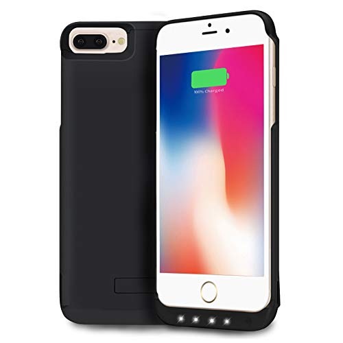 NRO Battery Case for iPhone 6 Plus / 6s Plus (5.5 Inch) Upgraded 8000mAh Portable Rechargeable Extended Battery Pack Protective Charging Case with Tempered Glass Screen Protector + Kickstand