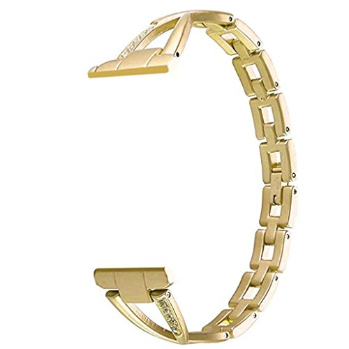 YJYdada with Connection Adapter Luxury Alloy Crystal Strap Band for Apple Watch (38MM, Gold) by YJYdada