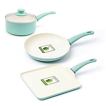 Greenlife cc000884–001agarre suave cerámica antiadherente utensilios de cocina, 4unidades), color turquesa Cocina Hogar y Cocina Materiales de Cocina Sartenes de Chef Sartenes y Ollas
