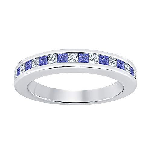Princess Cut Tanzanite & Diamond Half Eternity 14k White Gold Plated 925 Sterling Silver Wedding Band Ring for Women