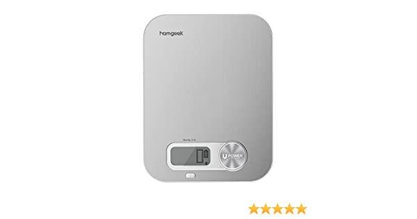 Homgeek Digital Kitchen Scale, Battery Free Multifunction 11lb/5kg, Food Scale Stainless Steel with Large LCD Display