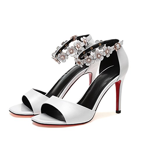 VIVIOO Tacones altos Sandalias de tacón alto Sandalias de tacón alto Flores de verano femeninas Zapatos de mujer Hebilla fina con tacones altos de boca de pescado white