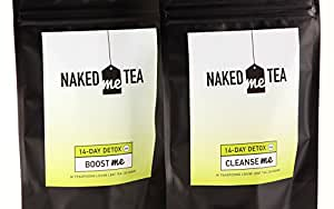Naked Me Tea Detox kit Herbal Weight Loss & Detox Tea - Powerful Weight Loss Ingredients, 2 step kit: AM Boost, PM Cleanse. Appetite Control, less cravings. Proven to work.