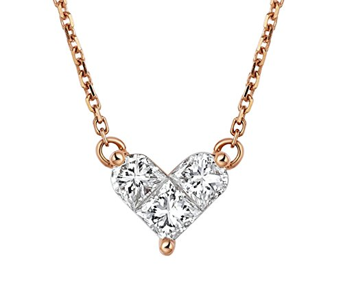 Aooaz Jewelry Womens Necklace Chain 18K Rose Gold 3 Square Diamond Love Heart Pendant Necklace Rose Gold 22I Chain 42CM Wedding Necklaces Classic ()