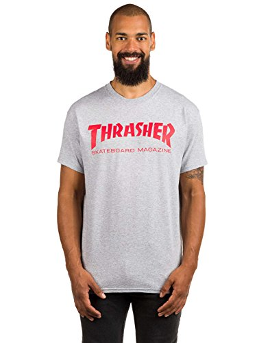 Thrasher Men's Skateboard Magazine Logo T-Shirt,Grey,XX-Large