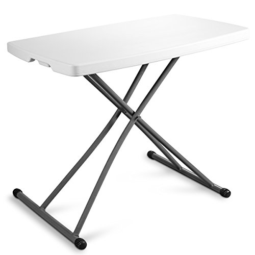 ZIMMER Personal Folding Table Sturdy and Durable Steel Frame Legs, 4 Adjustable Heights, Quick Fold up Portable Table, Weather and Impact Resistant for Indoor Outdoor Use, 30×20-Inch, White
