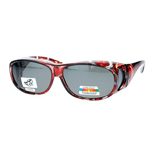 Fit Sunglasses (Polarized Sunglasses Fit Over Glasses Oval Rectangular OTG Anti-Glare)
